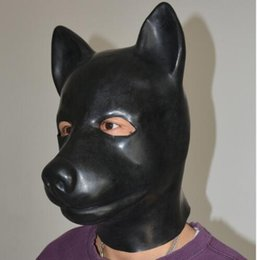 Wholesale Dog Slave - (LS02)Fetish Latex full head latex pig dog cat leopard wolf horse animal head slave mask rubber hood SM Hood suffocate Mask