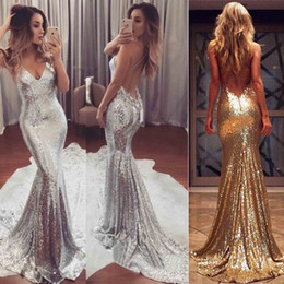 Wholesale Evening Eyes - Eye Catching Sexy Bling Bling Evening Dresses Sequins Spaghetti V-Neck Mermaid Formal Party Dress Floor Length Backless Prom Gown