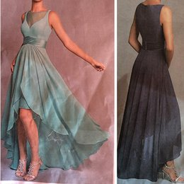 Wholesale Hi Low Chiffon - 2017 Sheer Neck Chiffon High Low Bridesmaid Dresses Custom Made Formal Evening Wear Gowns Wedding Party Dresses Cheap