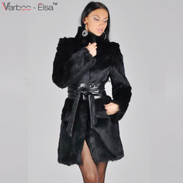 Wholesale Thick Leather Jackets - VARBOO_ELSA Women Winter Long Sleeve Faux Rabbit Fur Leather Thick Jacket Coat Outerwear leather mink fur coat Long Sheep Jacket