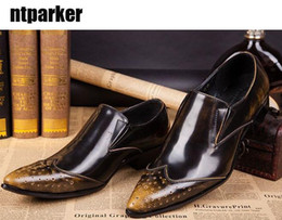 Wholesale Men Elegant Pointed Toe Shoes - ITALY Style! Man's Leather Shoes pointed casual shoes elegant mans dress shoes leather Business, EU38-46, Free Ship!