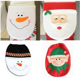 Wholesale Christmas Elf Ornaments - Happy Santa Claus Snowman The elves Toilet Seat Cover Rug Bathroom Set Decoration Rug Christmas Decoration
