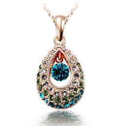 Wholesale Teardrop Necklace Cheap - Wholesale-Hottest Gold Silver Teardrop Crystal Necklace Jewelry Colorful Crystal Rhinestone Necklace Cheap Jewelry collar de cristal