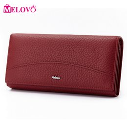 Wholesale Special Coins - Wholesale- MELOVO Special Sales!! 100% Genuine Leather Wallet Cowhide Women's Wallets Clutch Long Design Purse Bags Handbag JL18