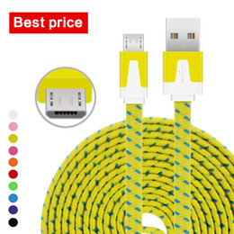 Wholesale Led Flat Usb Micro - High Speed 1M 3Ft 2M 6Ft 3M 10Ft Nylon Braid Flat Noodle Type C Micro USB Data Sync Charger Cable Cord Wire Leads