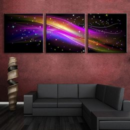 Wholesale Three Panel Modern Art - Beautiful Wall Hangings LED Gorgeous Canvas Print Flashing Color Optical Stretched Prints Set Modern Style Wall Art Decor