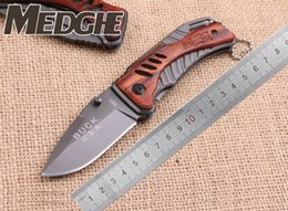 Wholesale Buck Knife Mini - MEDGE BUCK X61 Small Mini Drop Clip Point Little Ocated Gray Titanium Blade Wood Handle Folding Pocket EDC Knives OEM Camping Hunting Knife
