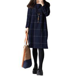 Wholesale Large Size Korean Dresses - Wholesale- 2017 Spring New Large Size Women Loose Clothing Arts Style Casual Dresses Korean Long-sleeved Plaid Cotton Dress Female Vestido