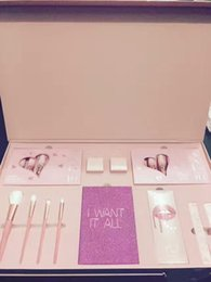 Wholesale Pink Cosmetic Makeup Brushes - 2017 new Kylie Jenner Cosmetics 4pcs Pink Set I Want It All Birthday Collection Limited Edition Makeup Brushes High Quality.