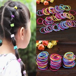 Wholesale Baby Hair Rubber Ponytail - 100Pcs lot Korean Fashion Colorful Elastic Hair Ropes Hair Ties Ponytail Holder Hairbands For Baby Girls