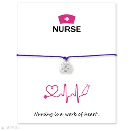 Wholesale Roping Hats - Wish Bracelet With Gift Card Nurse Hat medicine chest Bracelets & Bangles for Women Girls Adjustable Friendship Statement Jewelry with Card