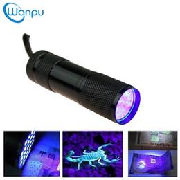 Wholesale Waterproof Uv Led Flashlight - 9LED Mini Aluminium UV Ultra Violet Flashlight Torch Light Lamp Invisible Blacklight Detection Ink Marker DHL Free Shipping