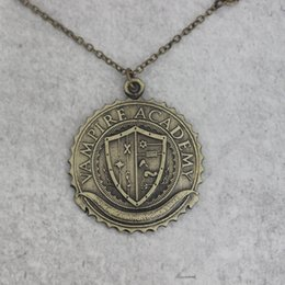 Wholesale Vampire Charms - antqiue silver or antique bronze Vampire Academy pendant necklace Blood Sisters badge necklace badge jewelry C229N