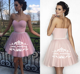 Wholesale simple elegant homecoming dresses - Simple Nude Pink Short Tulle Prom Dresses Sweetheart Strapless Satin Short Homecoming Dresses Elegant Evening Party Dresses Zipper Up