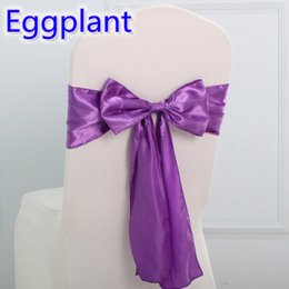 Wholesale Eggplant Chairs - Eggplant wedding chair sash Butterfly style satin sash with ruffled look fit all chairs whole lycra spandex chair sash on sale