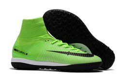 Wholesale Turf Superflys - Mens Mercurial X Proximo II IC TF Football Boots Mercurial Superfly Indoor Soccer Cleats High Ankle Turf Soccer Shoes Superflys V Green