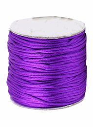 Wholesale Purple Shamballa - Free Shipping 1.5mm Purple Rattail Satin Nylon Cord Chinese Knot Beading Cord+Macrame Rope Shamballa Bracelet Cords Accessories 80m roll
