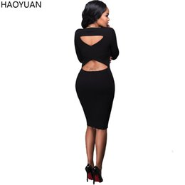 Wholesale Knee Length Sweaters Women - Sexy Vestidos Winter Sweater Dress Women 2017 Slim Backless Bodycon Long Sleeve Dress Black Ladies Club Party Dresses 17301