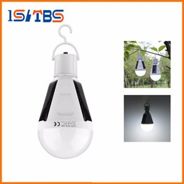 Wholesale E27 Solar Light - Smart LED Rechargeable Solar Night light 7W 12W E27 110V 220V Charge Sensor lamp Waterproof Outdoor Camping Tent Emergency Bulb