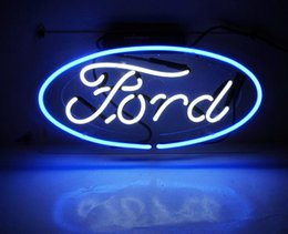 """Wholesale commercial ford - Fashion New Handcraft """"Ford Autos"""" Real Glass Tubes For Bedroom Home Display neon Lighht sign 14x7"""