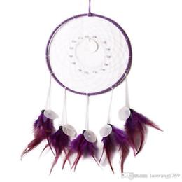 Canada Style indien fait à la main Purple Dream Catcher Net circulaire avec plume suspendus Décoration Decor ornement cadeau Offre