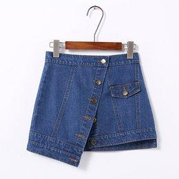 Wholesale Girls Demin Skirts - WHOLESALE (50pcs LOT)- GIRL STUDENT LADY BUTTON DEMIN all match skirt