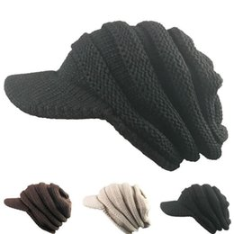 Wholesale Crochet Trapper Hat - 3 Colors CC Hats CC Trendy Beanie Knitted Winter Trapper Hats Chunky Soft Cable Slouchy Crochet Hat Without CC Logo 30PCS LJJY822