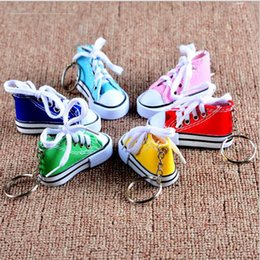 Wholesale Color Rings Plastic - 7 Color Mini 3D Sneaker Keychain Canvas Shoes Key Ring Tennis Shoe Chucks Keychain Favors 7.5*7.5*3.5cm