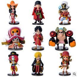 einteilige heiße aktionsfigur Rabatt HOT 9 STÜCKE Set Ein Stück Ruffy Zoro Sanji Nami Action-figuren Puppe Hohe Qualität PVC Anime Spielzeug Dekoration Freies Verschiffen