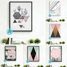 Wholesale Wall Paper Mirror - Geometry Abstract Painting Canvas Art Print Poster Minimalist Painting Modern Fabric Cloth Wall Picture For Bed Room Home Decoration