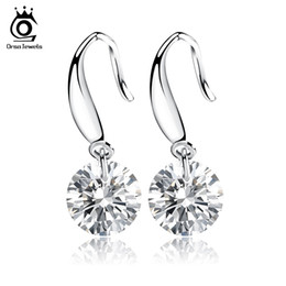 Wholesale Copper Shine - ORSA JEWELS Shining Naked Drill Earring Genuine Austria Cubic Zircon Very Beautiful Earring for Women OE05
