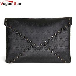 Wholesale Punk Skull Rivet Shoulder Handbag - Wholesale-Vogue Star New 2016 Fashion Korean Designer Rivet Envelope Single Women Bags Skull Clutch Crossbody Punk Brand Handbags YA40-20
