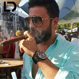 Wholesale Pilot Aviator Glasses - Wholesale-DOLCE VISION Rectangle Aviator Sunglasses Men Luxury Brand Designer Sun Glasses For Men Pilot Driving 2016 Lunette Shades Male