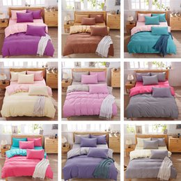 Wholesale Browning Bedding Full - DHL New 4Pcs 100% Washed Cotton Bedding Set Bedcover Sets Plaid Duvet Cover Sets Bed Sheets Pillowcase Adults Kids Couette King Queen Twin