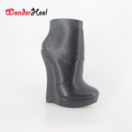 Wholesale Short Purple Heels - Wonderheel New matt leather extreme high heel 18cm with 3cm platform wedge ankle boots short boots fashion show sexy boots
