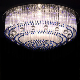 Wholesale glass ceiling lighting - Sapphire led crystal lamp round glass barswarovski crystals ceiling lighting E14 110v 220v living room bedroom studying room lamp