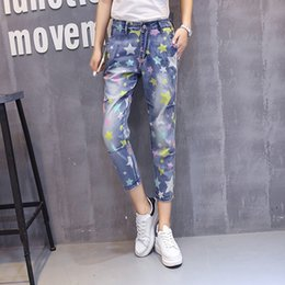 Wholesale Fly Seven - Wholesale- 2017 Summer High Waist Loose Harem Pants Vintage Denim Jeans With Star Print Large Size Seven Capris Denim Jean