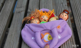 Wholesale Toy Story Bags Wholesale - Wholesale- Hot selling 4pcs lot Mermaid baby story telling finger puppets  wooden children plush doll toys with cloth bag , Free shipping