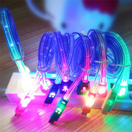 Wholesale Brand Mobiles Phone - Lighting USB Cables 1M Micro USB Date Cable for Samusng HTC i5 i6 i7 Mobile Phone LED Luminous Smile Face charger cable