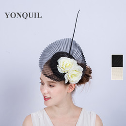 Wholesale Sinamay Cocktail Hat - TOP quality Sinamay black wedding fascinator base hat headband with ivory silk flower high-end hair clip ladies wedding cocktail hats SYF140