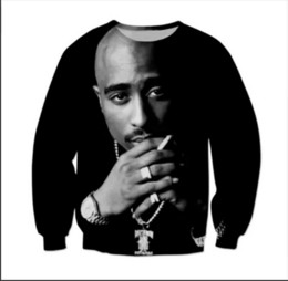 Wholesale Funny Standards - New Fashion Mens Womens 2Pac Tupac Monochrome Biggie gangster Rap Funny 3D Print Casual Sweatshirt XMB002