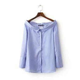 Novas Mulheres Da Moda impressão listra Sailor Collar Camisas de manga Longa Blusa Casual elegante Tops Blusa Feminina S de Fornecedores de camisas longas do marinheiro da luva