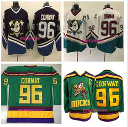 Wholesale Men Wearing Spandex - Mighty Ducks Movie 96 Charlie Conway Jersey Worn 1993-94 Green Color Stitched Sewn Anaheim Ducks Vintage Charlie Conway Hockey Jerseys