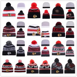 Wholesale Dotted Ties - New 15 Styles Skullies Chicago Blackhawks Winter Wool Knitted Hats Top Knit Hockey Beanies Wholesale Fix Cheap Gift Present