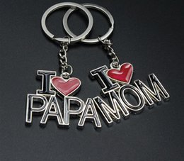 Wholesale Mom Keychains - I LOVE PAPA MOM Keychains Key Ring Heart Keychain Mother's Father's Day Family Gifts For Dad Mom Key chain Mother Father Jewelry
