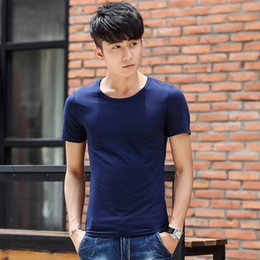 Wholesale Wholesale Solid Color Tees - Wholesale- HOT New Fashion Mens Casual O Neck Short Sleeve Cotton T Shirt Solid Color Basic Tee Hip Hop Tops tshirt homme Z2