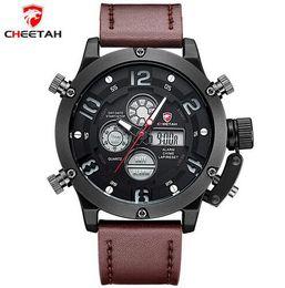 Wholesale Cheetah Glasses - CHEETAH Luxury Brand Men Sports Watches Men's Quartz Digital LED Clock Man Leather Army Military Wrist Watch Relogio Masculino