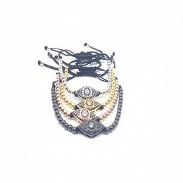 Wholesale Pave Evil Eye - Fashion Style Pave CZ Evil Eye Connector & 4MM Round Beads Bracelets & Bangles Braided Macrame Men Bracelets Jewelry
