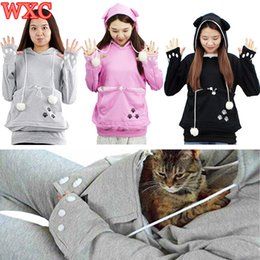 Wholesale Pet Pouch Carrier - Wholesale- Cat Pocket Hoodies Pet Lovers Sweatshirt With Cuddle Pouch Puppy Kitten Little Animals Pouch Carriers Pullover With Ears WXC