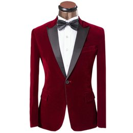 Wholesale One Button Burgundy Peak Lepal Groom Tuxedos Velvet Fabric Man Blazer Prom Clothing Dress Suits Jacket Pants Bow Tie H